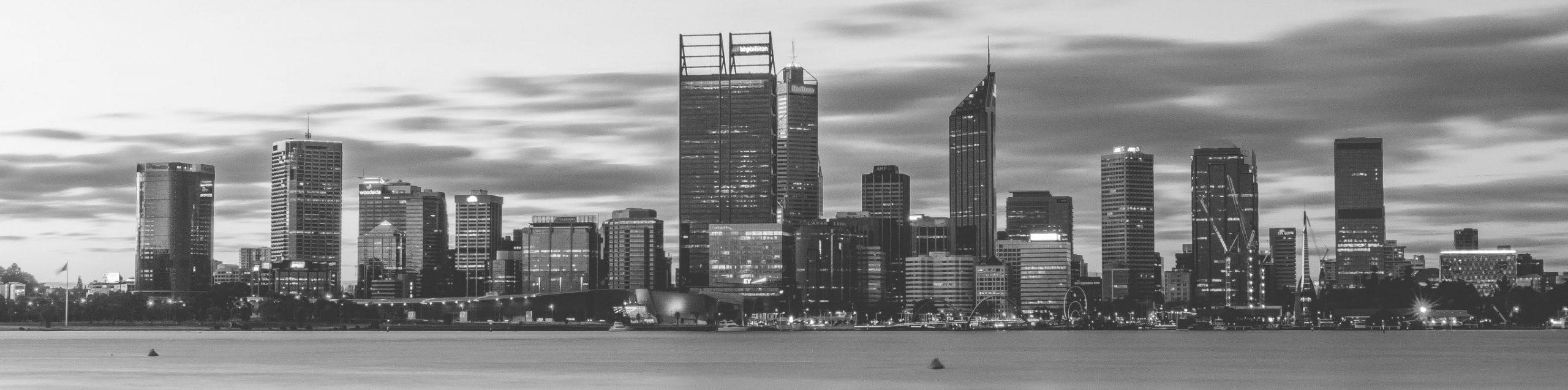 Perth Skyline Greyscale